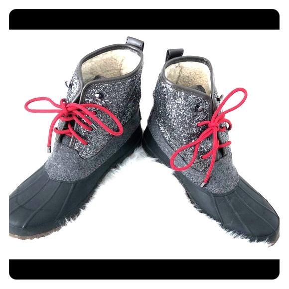 5fa5372d377c Gianni Bini Shoes - Gianni Bini women's black grey glitter duck boots